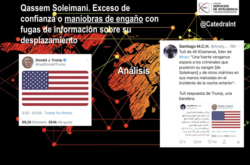 Qasem Soleimani. Exceso de confianza, maniobra de engaño o fugas de información sobre su desplazamiento.